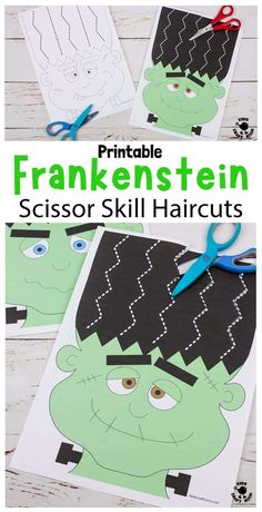 This Frankenstein Halloween Scissor Skills Haircut Activity is so fun! It's a great way for kids to enjoy cutting practice and developing their scissor skills this spooky season. There are 22 fun haircuts to choose from in B/W and full colour. There's also 6 design your own hairstyle Halloween worksheets to enjoy too. #kidscraftroom #halloween #halloweencrafts #halloweenactivities #frankenstein #scissorskills #cuttingpractice #finemotorskills #printables Fun Halloween Games, Halloween Worksheets, Halloween Quilts, Halloween Crafts For Kids, Easy Crafts For Kids, Halloween Party Decor, Halloween Themes, Kid Crafts, Diy Halloween