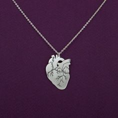 Anatomical heart necklace- silver anatomy heart pendant- Valentine's day