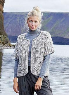 15b90adb072ae Free Knitting Pattern for a Jutka Cardigan with Chunky Yarn. Skill Level   Easy Short sleeves garter stitch cardigan to knit with bulky yarn.