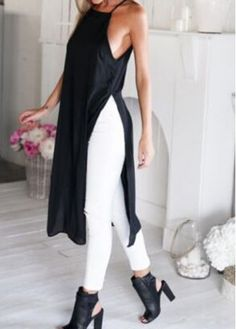 Black Spaghetti Strap Side Slit Straight Dress