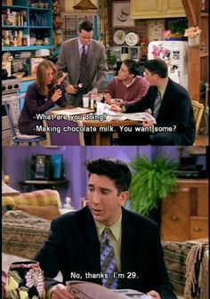 I drink chocolate milk at least once a week, thank you very much! Friends Moments, Friends Tv Show, Friends Forever, Friends Scenes, Friends Episodes, I Love My Friends, Friend Memes, Comedy Tv, Tv Show Quotes