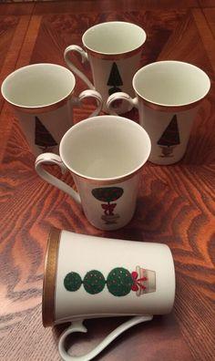5~Mikasa Fine China~Topiary Mugs~L3282~L3279~L3281~L3280 #MIKASA