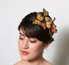 Orange Monarch Butterfly Headband fall bright por neesiedesigns