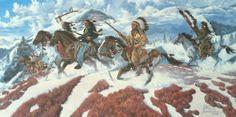 Predator Spirit by Richard Luce ~ Native Americans on horseback in winter mountains