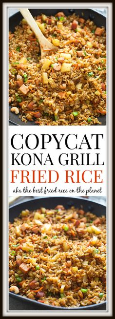 Copycat Kona Grill Fried Rice. Two SECRET ingredients make this the BEST Shrimp, Pineapple and Pork Fried Rice ever!
