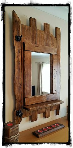 Mirror Large mirror Wooden mirror Entryway by ConwyRustics Rustic Mirrors, Rustic Frames, Rustic Shelves, Log Furniture, Recycled Furniture, Rustic Room, Rustic Decor, Entryway Mirror, Diy Workbench