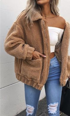 Cute Cozy Warm Fall Back to School Outfit Ideas for Teens for College - Aurora Popular Oversized Soft Comfy Sherpa Teddy Jacket Pixie Coat I am gia dupe - www. Source by larahaunfelder outfit ideas for women casual Winter Outfits For Teen Girls, Stylish Summer Outfits, Cute Fall Outfits, Fall Winter Outfits, Spring Outfits, Casual Outfits, Winter Ootd, Winter Clothes, Spring Clothes