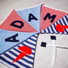 Handmade seaside flag bunting, personalised with any name. Each flag is carefully produced by hand therefore can be made to suit your own ideas. Kids Gifts, Baby Gifts, Apple Gifts, Personalised Bunting, Fabric Bunting, Name Banners, Boy Names, Nursery Decor, Seaside
