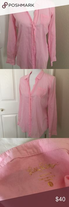 Lilly Pulitzer Pink Button Down Lilly Pulitzer Pink Button Down 100% Cotton Lilly Pulitzer Tops