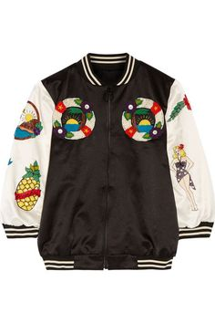 Black and ivory cotton-blend bomber jacket