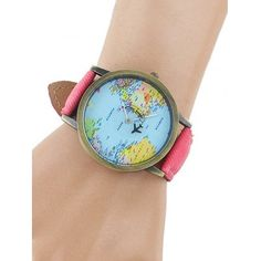 Faux Leather Airplane World Map Watch #hats, #watches, #belts, #fashion, #style