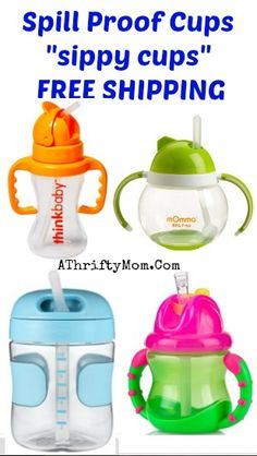 No Spill Sippy Cups, Sippy Cups for babies and toddlers with straws, Spill Proff Sippy Cups,  FREE SHIPPING