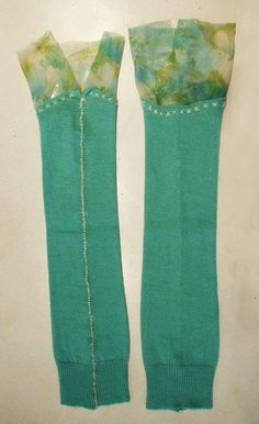 Hand stitched & repurposed pale green cashmere armwarmers w/vintage chiffon detail.
