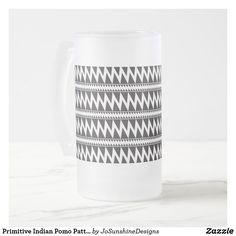 Primitive Indian Pomo Pattern Black White Frosted Frosted Glass Beer Mug Glass Beer Mugs, Frosted Glass, Photo Mugs, Primitive, Monogram, Indian, Ceramics, Black And White, Pattern