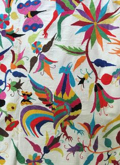 Otomi Rooster Mexico    This is a detail from a large embroidered cloth that was probably made in the Otomi community of Tenango de Doria Hidalgo or San Pablito Puebla Mexico