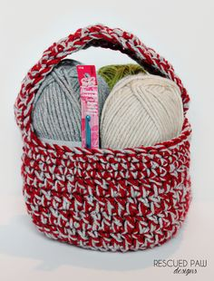 Crochet Gift Basket Pattern :: Rescued Paw Designs. Perfect for Valentine's day!