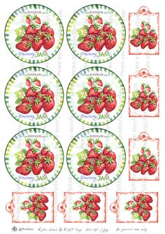 Items similar to Circle jam label strawberry jam label printable mason jar sticker homemade fruit labels gift tags on Etsy Printable Recipe Cards, Printable Labels, Printable Stickers, Printables, Card Tags, Gift Tags, Canning Labels, Canning Recipes, Jam Label