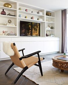 Cozy TV Room Setup Inspirations - The Urban Interior Living Room Built Ins, Living Room Storage, Living Room Tv, Home And Living, Home And Family, Coastal Living, Family Rooms, Small Living, Family Room Design With Tv