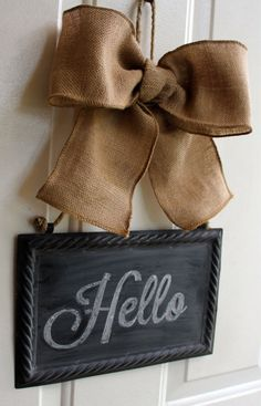 Wreath Alternative CHALKBOARD Sign Hanging Burlap Bow -  Summer Wreath - Year Round Decor Blackboard - Write your own message - Personalize - choose a bow for the season at chalkitupdecor.com on etsy.