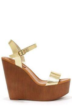 Emily Platform Wedge Sandals - Gold