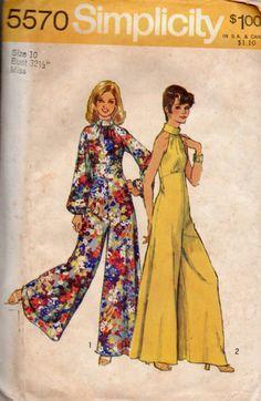 Retro Disco Fashion 70s Bell Bottom Wide Leg Jumpsuit Pantsuit Halter bodice Bare Shoulder Empire Waist Simplicity Sewing Pattern 5570