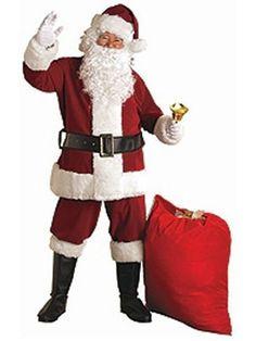 Halloween Regal Plush Crimson Santa Clause Suit for Adults XXL