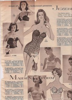 Vintage Girdles and Bras Fashion Catalog Pages, 1961