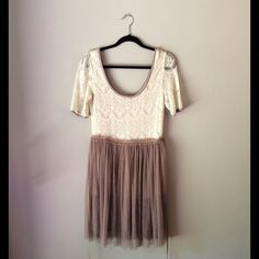 NWT Gorgeous Lace and Tulle Dress⭐️FLASH SALE⭐️ Cream and mauve colored lace and tulle dress. Short sleeves, ribbon around waist. Perfect condition. Gorgeous! Dresses Midi