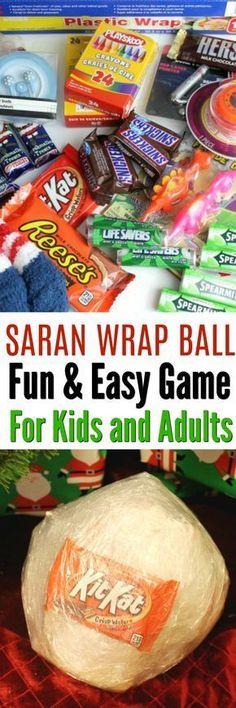 Saran Wrap Ball Party Game is a fun and Easy Game Idea for Kids and Adults. This saran wrap candy ball can be filled with all sorts of holiday treats. Christmas, Halloween, Birthday parties and more!