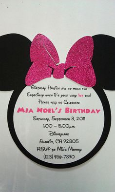 Handmade Minnie Mouse Birthday Invitation by uniqueboutiquebygami, $16.50
