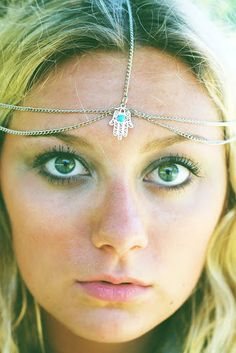 Silver Hamsa Headchain, Chain Headband, Chain Headpiece, Hair Jewelry, Hair Chain. $20.90, via Etsy.