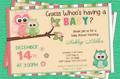 Owl Baby Shower Invitations- Its a Girl Baby Shower Invitations
