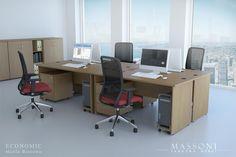 Meble biurowe Economic to zestawy tanich biurek i szaf o wytrzymałej konstrukcji, w kilku kolorach do wyboru.