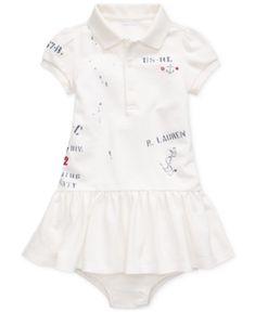 RALPH LAUREN Baby Girls Striped Cotton-Blend Romper Nevis//Polo Black