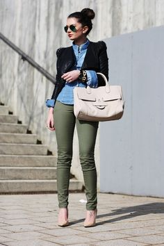 chambray top, blazer, army green pants, nude accessories