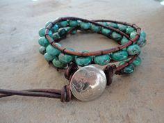 Bisa Gutsu Turquoise Beaded Leather Wrap Bracelet by justhipstuff, $39.99