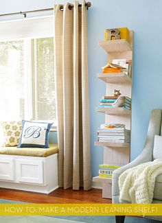 DIY Modern Leaning Shelf from Lowes Creative Ideas. I enjoy being able to have the time to make this for my children. Who wouldn't love more time for their children? Leaning Bookshelf, Leaning Shelf, Modern Bookshelf, Bookshelf Diy, Lack Shelf, Simple Bookshelf, Bookcase, Oak Shelves, Display Shelves