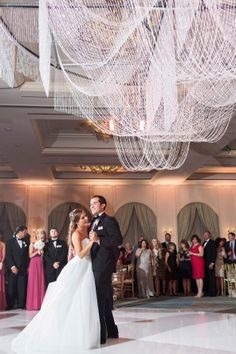 Julie + Timmy Summer Wedding Crystal Beaded Chandelier | Perez Photography | @emilyclarkewed