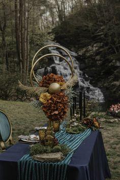 Moody & Whimsical Harry Potter Themed Wedding Inspiration - The Celebration Society Romantic Wedding Receptions, Romantic Weddings, Wedding Themes, Wedding Styles, Our Wedding, Dream Wedding, Wedding Decorations, Wedding Ideas, Halloween Wedding Centerpieces