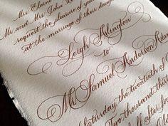 Wedding invitation in a beautiful Flourished Script #Calligraphy #ATLCalligrapher