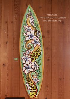 Handpainted surfboard by Art By Emi at the IFAC Art Center Store featured until 6/30/13. $495  www.irvinefinearts.org    #surfart #artbyemi #irvine #octopus #flowers #tattooart #custompainting #handpaintedart #enamelart #artcenterstore #ifac #irvinefinearts #ifacartcenterstore