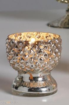 Antique Silver Glass Tea Light Holder-Fluted with Diamante Brooch Set Of 6