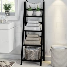 Keep towels neat and fresh is part of Bathroom storage shelves - Towel storage ideas for tidy bathrooms Bathroom Towel Storage, Bathroom Towels, Bath Towels, Bathroom Organization, Bathroom Ladder Shelf, Towel Shelf, Bedroom Storage, Bathroom Canvas, Storage Ideas For Bathroom