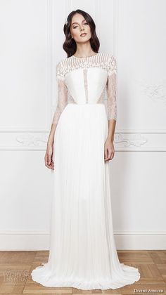 High neck Wedding gown by Divine Atelier 2016 with lace 3/4 length sleeves.
