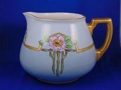 """William Guerin (WG&Co.) Limoges Arts & Crafts Rose Motif Cider/Lemonade Pitcher (Signed """"Farnam""""/c.1900-1932)"""