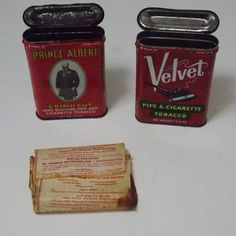 Prince Albert and Velvet / 2 tobacco tins pipe by DocsOddsandEnds