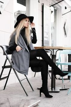 Gray woolen coat   Lookbook.nu   Bloglovin.