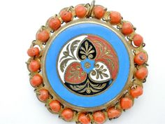 """Antique Natural Coral Pendant Brooch Enamel Gilded Brass Art Deco Jewelry Pin  This is a rare hand crafted gilded brass art deco period pendant/brooch.   It is hand painted enamel with vivid color, has naturals stones of coral and measures 1 5/8"""" in diameter.   The enamel design is encircled by natural coral beads.   It has a ring at the top of the brooch so it can be worn as either a brooch or a pendant. Jewelry & Watches, Vintage & Antique Jewelry, Costume"""