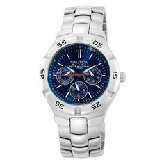 Nautica Men's N10061 Metal Round Multifunction Watch NAUTICA. $64.00. Case diameter: 41 mm. Stainless-steel case; blue dial; date function. Mineral crystal. Water-resistant to 330 feet (100 M). Complication movement