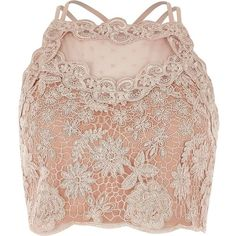 River Island Light pink lace mesh crop top ($56) via Polyvore featuring crop tops, tops, pink and river island
